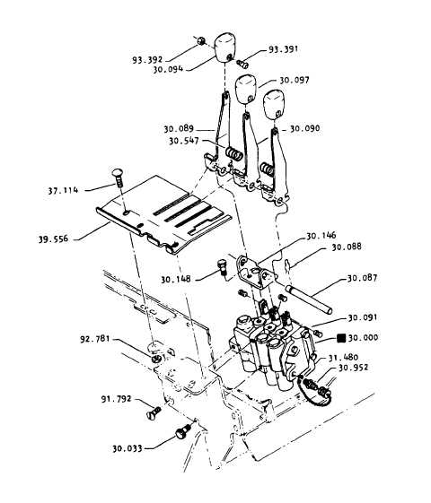 Hydraulic Control Linkage : Main hydraulic valve mounting and control lever linkage